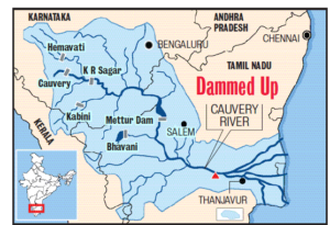 Cauvery water flowing map